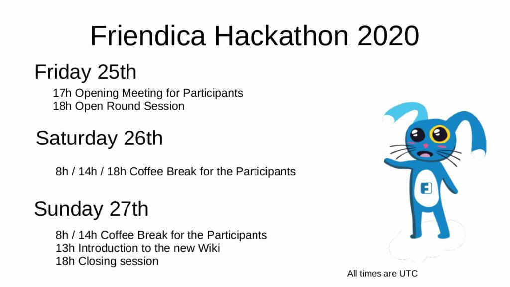 schedule of the 2020 remote Hackathon